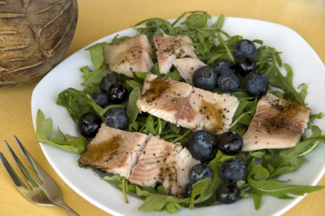 Blackberry Salad with Trout