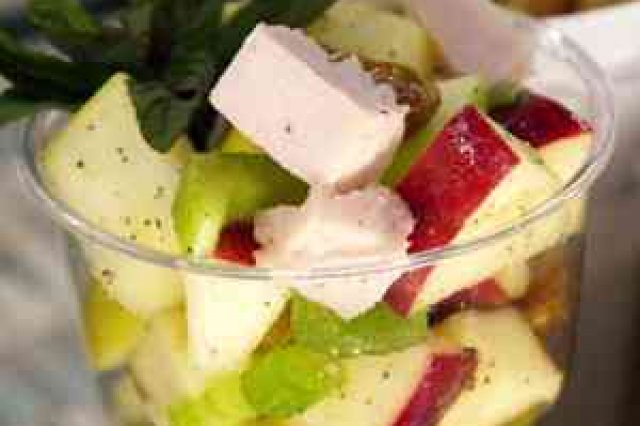 Apple salad abc with ham cubes