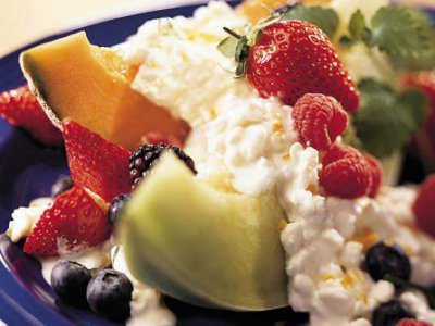 Frutas con queso cottage