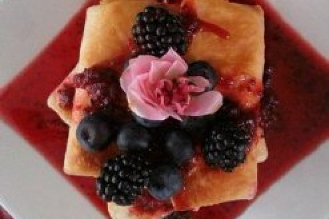 Blintzes with Cranberry Sauce and Fresh Berries