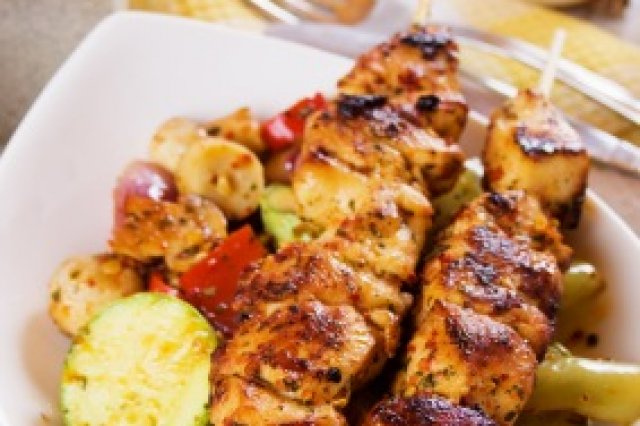 Chicken Brochettes on Vegetable Bed