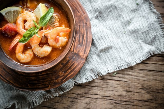 Shrimp broth with Tequila