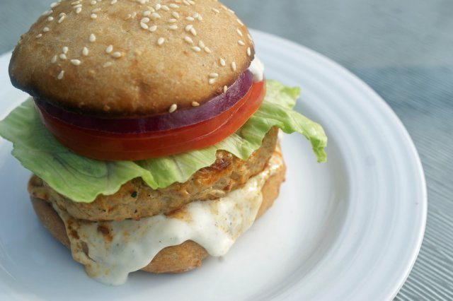 Chicken Burger with Cheese Oaxaca