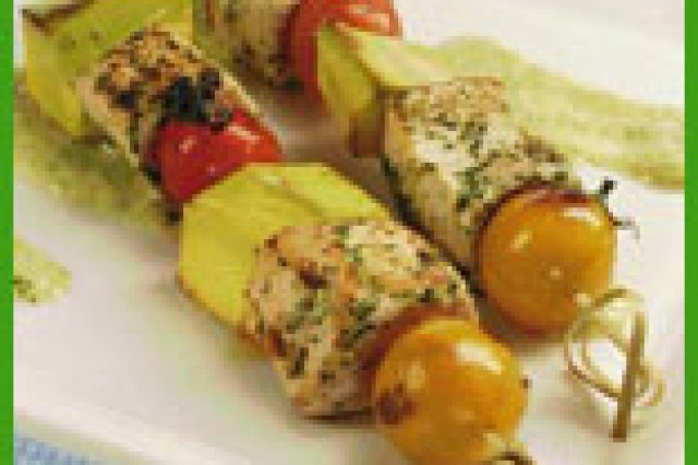 Chicken Brochettes with Vinaigrette Salad
