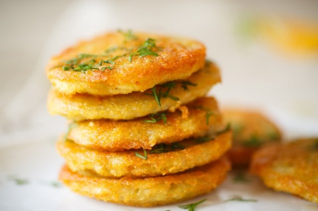 Potato pancakes with chicken