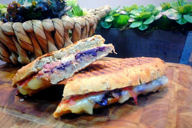 Panini with Serrano Ham and Caramelized Onion with Red Wine