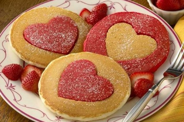 Hot Cakes in the shape of a heart