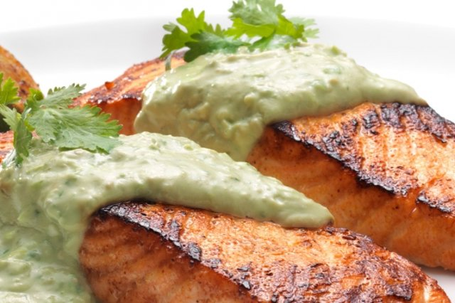 Tandoori Style Salmon with Avocado Cream FAGE Total