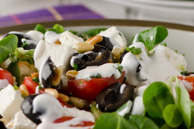 Salad of Feta Cheese and Olives