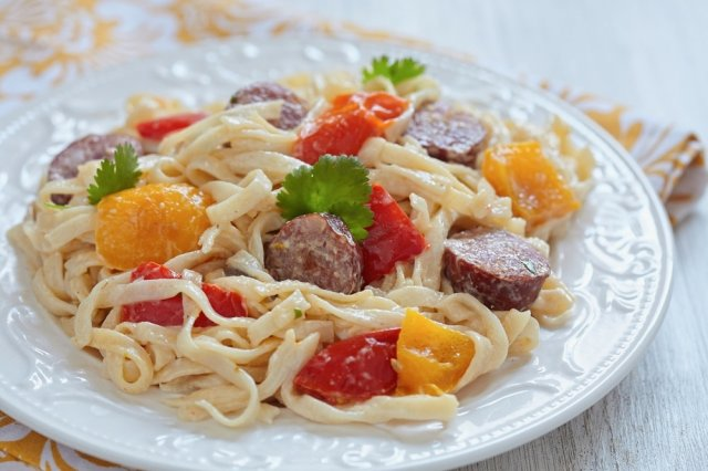 Fetuccine Alfredo with smoked sausages