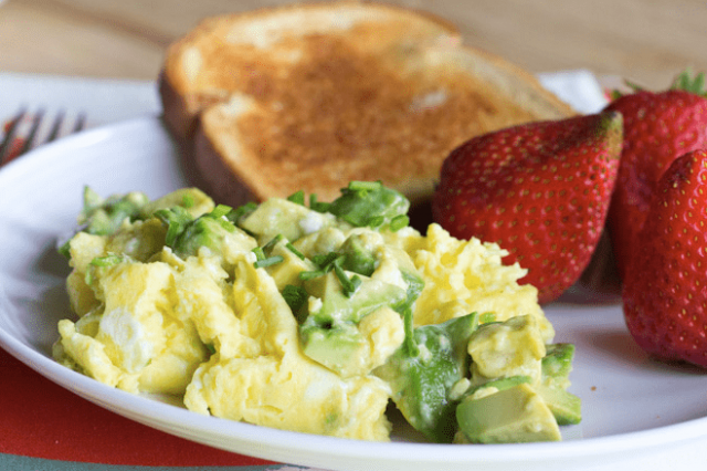Scrambled eggs with avocado