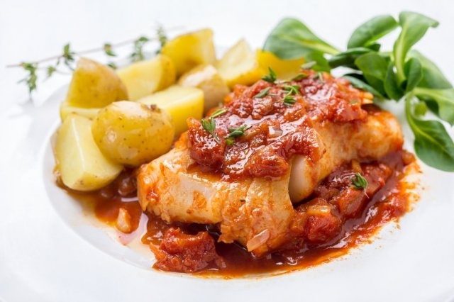 Cod with Tomato and Clam Sauce
