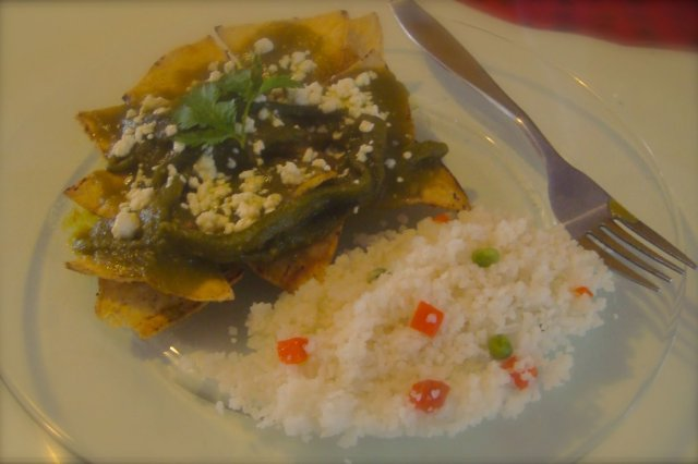 Chilaquiles in Green Sauce with Poblano Chili