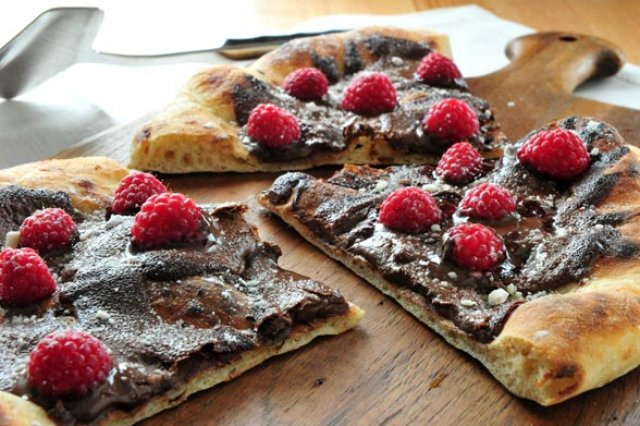 Chocolate Pizza with Raspberries