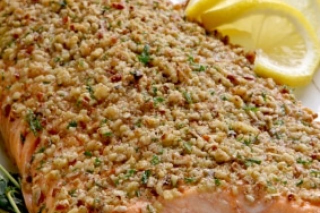 Salmon Covered with Almonds