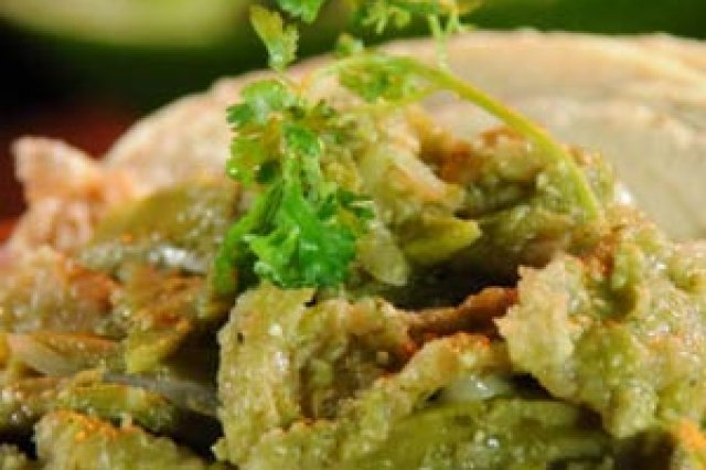 Pressed Greaves with Green Sauce