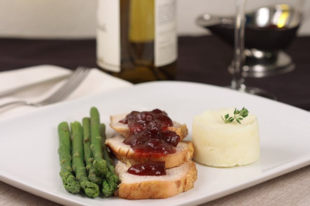Chicken Breast Stuffed with Goat Cheese with Hibiscus Sauce