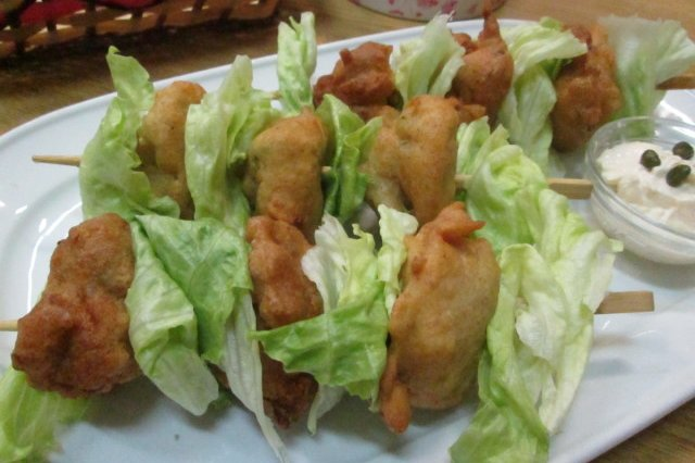 Lettuce and Tuna Fritters on skewers