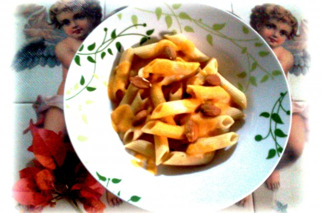 Penne Rigate with Carrot and Almond Cream