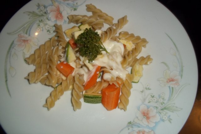 Fusilli with Vegetables and Bechamel Sauce