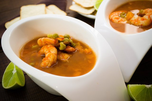 Shrimp Broth With Peas And Carrots
