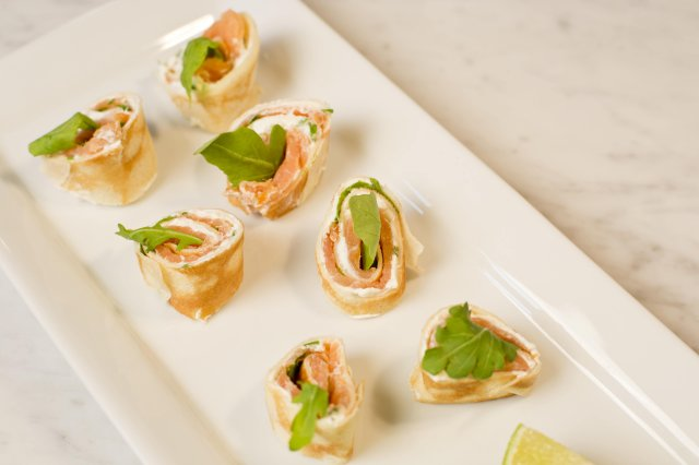 Crepes rolls with smoked salmon