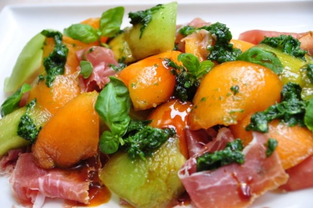 Salad of Prosciutto, Mozarella and Melon