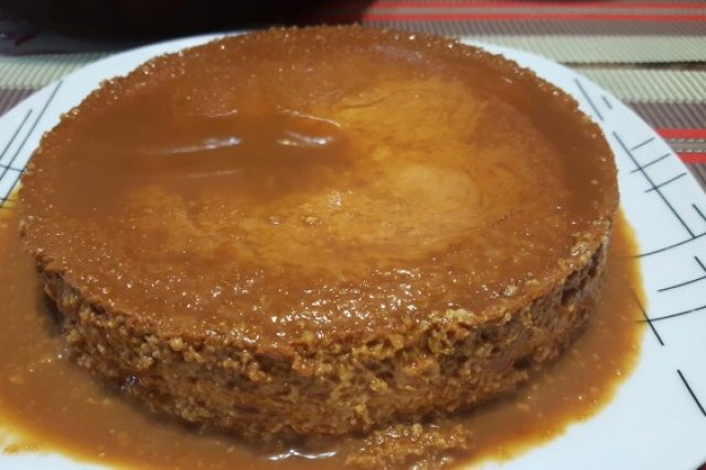 Flan de Elote with cajeta
