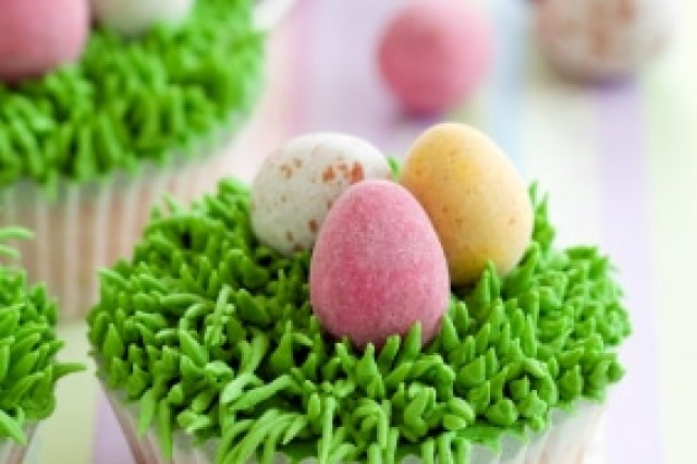 Cupcakes with Grass and Easter Eggs