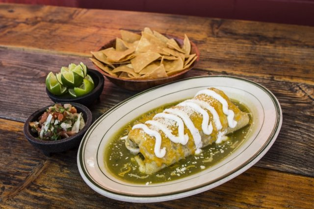 Fried Burrito Stuffed with Beans and Cotija Cheese with Green Sauce