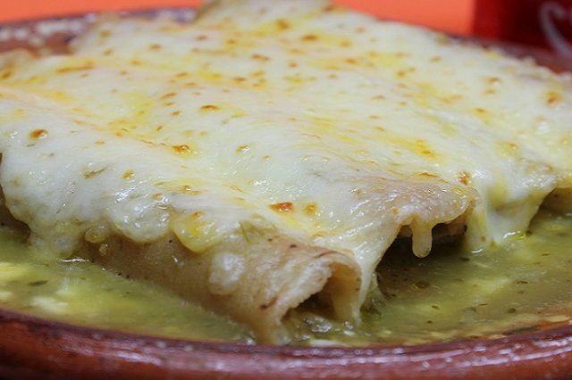 Green Enchiladas Stuffed with Tuna and Cheese