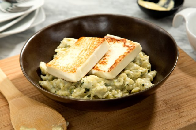 Grilled Panela Cheese with Creamy Garlic Sauce