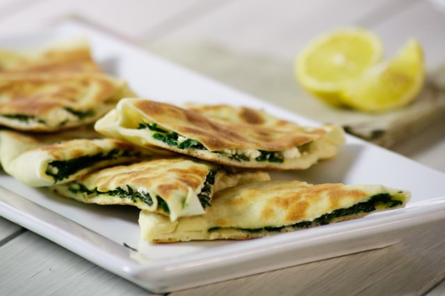 Arabic bread with spinach and feta cheese