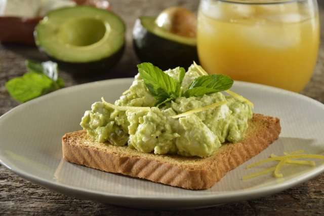 Toast with Avocado, Goat Cheese, Yellow Lemon Zest and Mint
