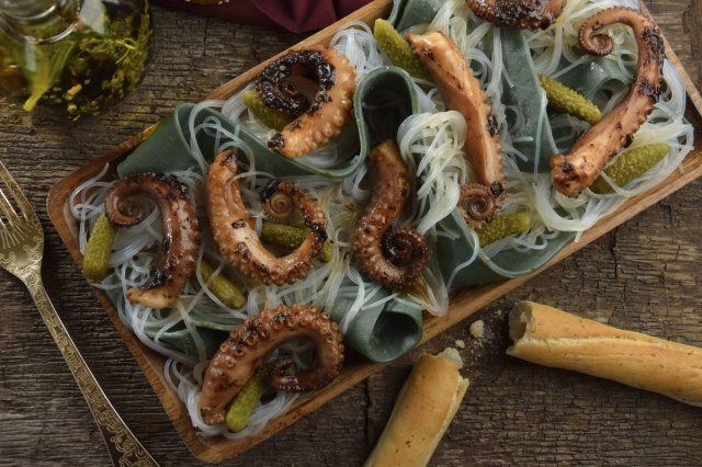 Roasted Octopus and Cucumber Salad
