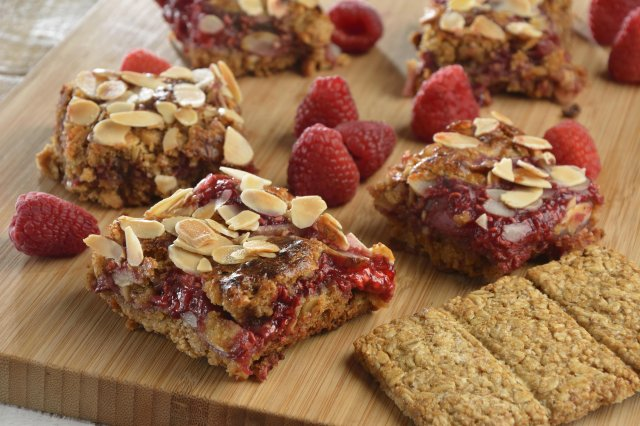 Small squares of Raspberry and Granola