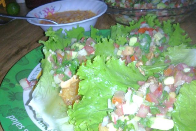 Fish Tacos with Surimi and Shrimp Salad