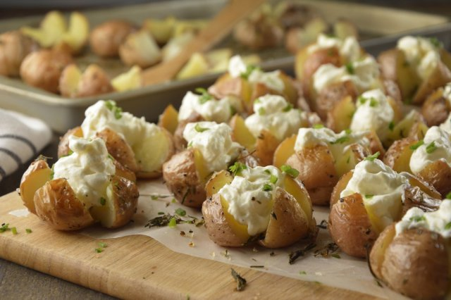 Cambray potatoes baked with cream and chives