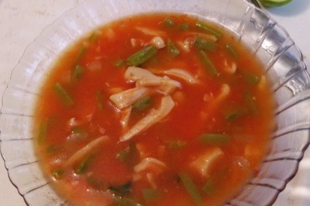 Soup of Nopalitos with Mushrooms Mushrooms