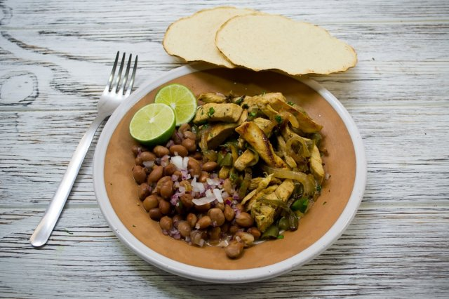 Chicken Fajitas with Beans