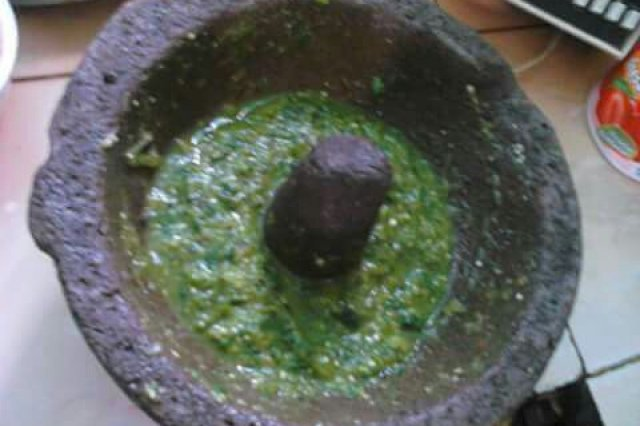 Green sauce of molcajete