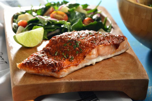 Baked Cajun Salmon and Spinach Salad