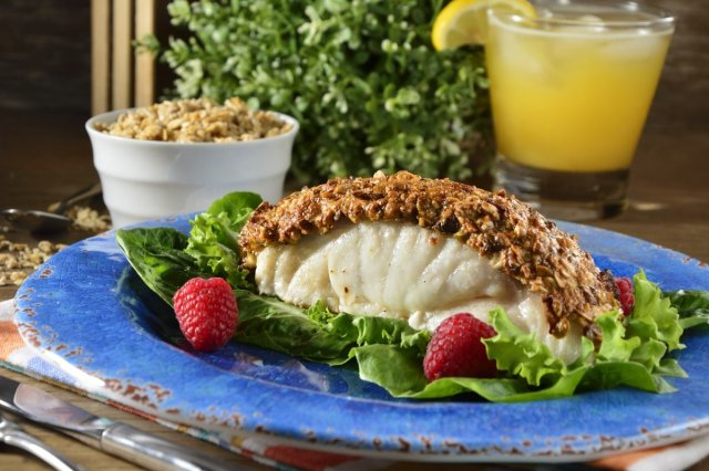 Baked Fish with Granola Crust with Quinoa and Pistache