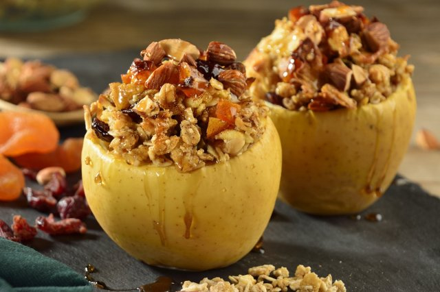 Baked Apple Stuffed with Granola and Crystallized Fruits