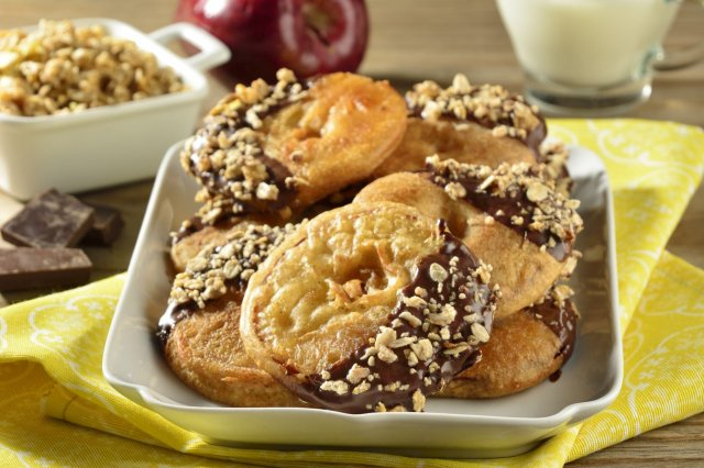 Apple Fritters Covered with Chocolate and Granola
