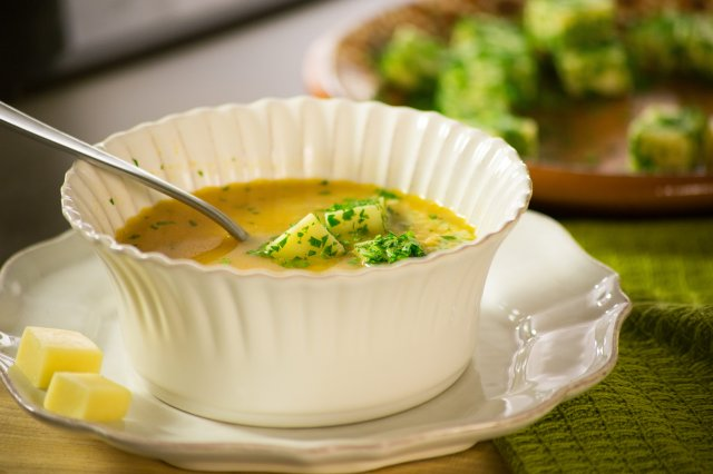 Ammunition Soup with Manchego Gratinated Cheese and Parsley