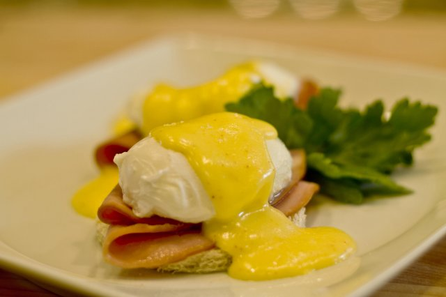 Benedictine eggs with ham