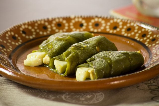 Nopales Stuffed with Chicken and Cheese