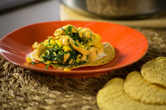 Chicken Breast with Chard and Corn
