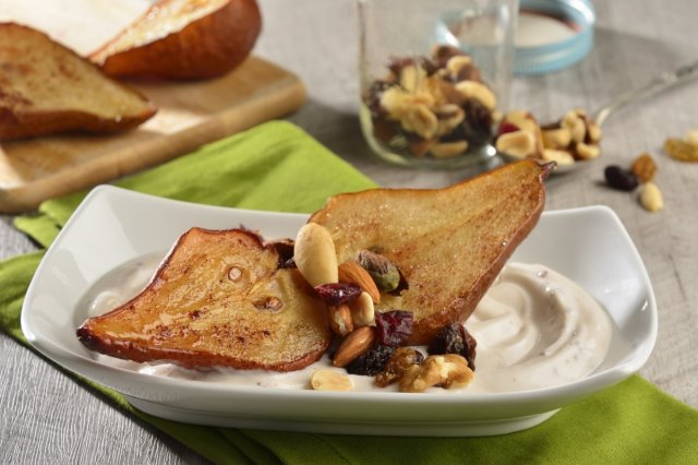 Yoghurt with Baked Pears and Mix of Seeds